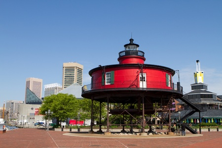 Seven Foot Knoll Lighthouse built in 1856 is now on display at the Baltimore Inner Harbor, Maryland. Stock Photo - 10554762