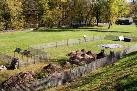 archaeology: Archaeology dig site at Harpers Ferry National Historical Park in West Virginia where artifacts are excavated from the soil to reveal the past. Editorial