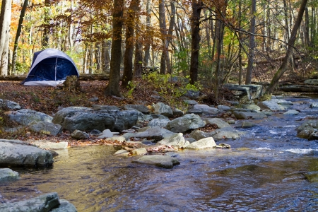 roughing: Small camping tent is pitched by a mountain stream in the woods in autumn with fall foliage.