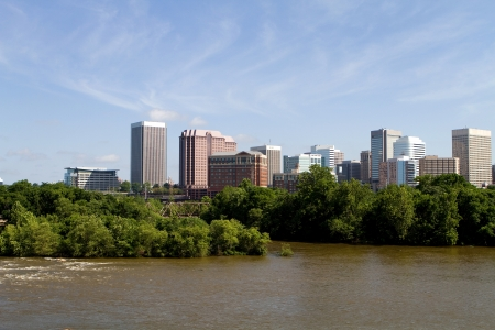 Skyline of Richmond, Virginia viewed from across the James River  Stock Photo