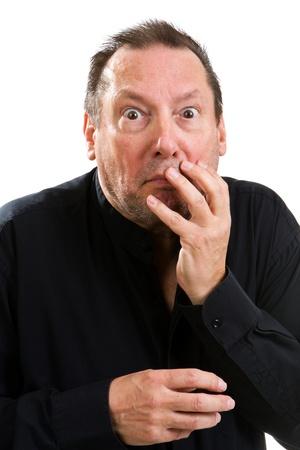 physiological: Anciano psic�pata con una mirada salvaje en sus ojos los ojos coge la cara con una expresi�n de sorpresa.
