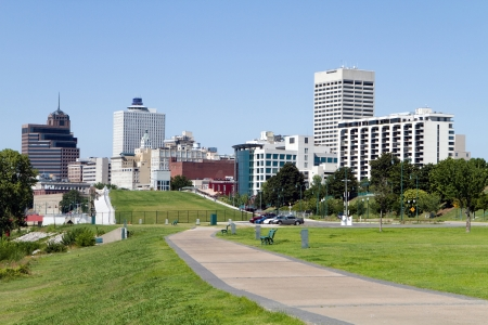 commercial district: View of the Memphis, Tennessee city skyline from a park in the downtown area.