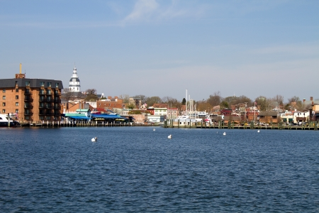 Skyline of the city of Annapolis, Maryland as seen from across the Severn River  State capitol dome is visible in the distance  Stock Photo