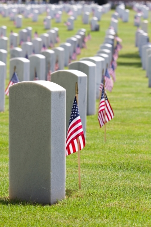 a memorial to fallen soldiers: United States American Flags decorate the gravestones of veterans at a USA national cemetery on Memorial Day