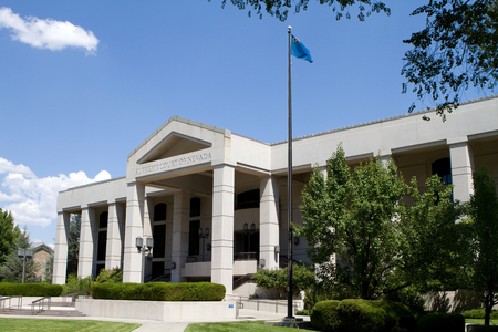 nv: Supreme Court of Nevada building located in Carson City, NV against a blue sky  Stock Photo