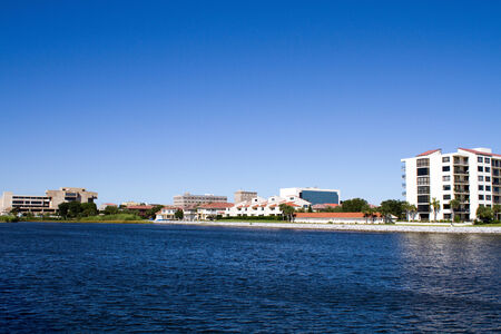 fl: Condominiums, offices and government buildings line the waterfront downtown area of the City of Pensacola, Florida