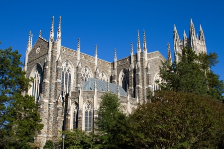 durham: Duke University Chapel is located on the campus of Duke University in Durham, North Carolina and seats 1800 people. Stock Photo