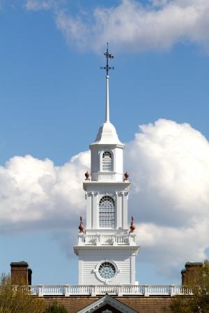 atop: Cupola sitting atop the Delaware capital building in Dover, DE  Stock Photo