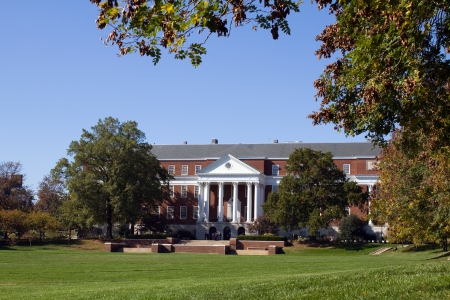 Library and campus of the University of Maryland located in College Park, MD