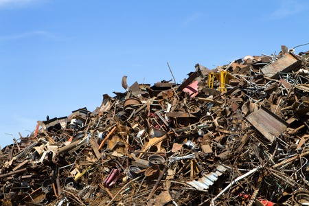 junkyard: Pile of scrap metal at a recycling yard sits ready to melted down into steel