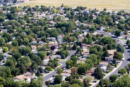 Aerial view of neighborhood suburbs around the city of Reno, Nevada, USA