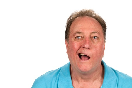 facial: Mature man with Bells palsy talking while half the face is paralyzed.