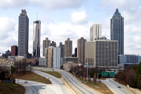 Skyline of downtown Atlanta, Georgia, USA with streets leading to the city.