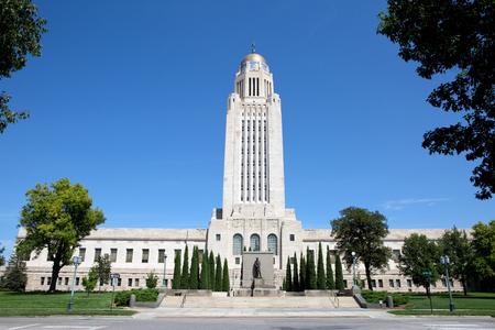 historical monument: Nebraska State Capitol building located in Lincoln, Nebraska, USA.