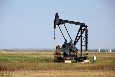 horsehead pump: An oilfield pumpjack production on Oklahoma farmland.