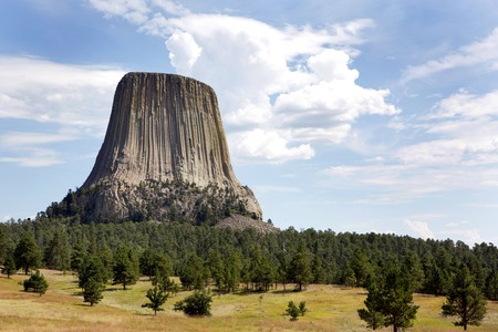 Devils Tower National Monument located in Wyoming, USA. Foto de archivo