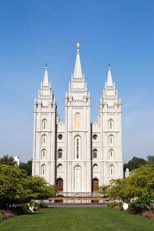 tabernacle: Mormon Tabernacle Church, in Temple Square, is located in Salt Lake City, Utah, USA.
