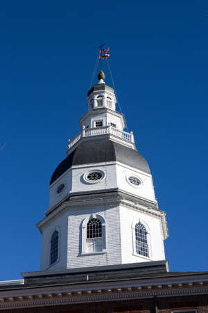 md: Dome of the Maryland State House Capitol which is located in Annapolis, MD, USA. Stock Photo