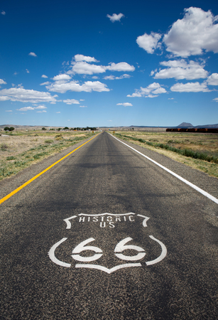 Historic US Route 66 as it crosses though a rural area in the state of Arizona. Stock Photo