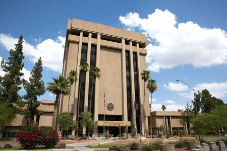PHOENIX, ARIZONA - JUNE 11, 2016: Arizona State Capitol Executive Tower complex which houses the governor's office was sold in 2009 in a real estate transaction to raise money for the state budget. The state now leases the building.