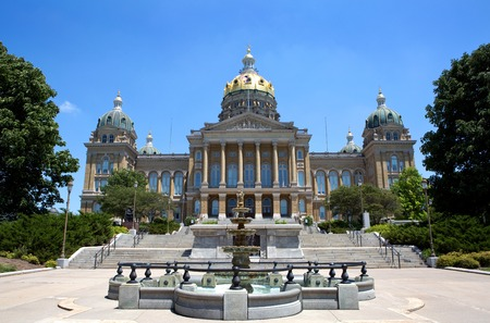 ia: Iowa State Capitol building is located in Des Moines, IA, USA. Stock Photo