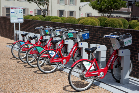 AUSTIN, TEXAS - AUGUST 23, 2015: Bicycles can be rented by the hour for touring around the city at the B-cycle Station kiosk in Austin, TX, USA. Redakční