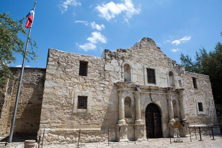 battleground: The Alamo in San Antonio, Texas, where the famous battle for Texas independence against Mexico took place in 1836. Stock Photo