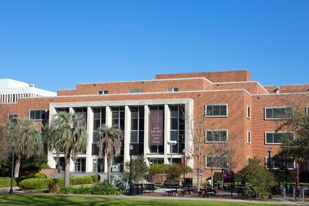 Entrance to the main library on the campus of Florida State University located in Tallahassee, Florida, USA.
