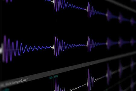DAW Music Multitrack. Digital Audio Workstation Sampler. Computer Music & Samples & Tracks - computer music composing screen photo
