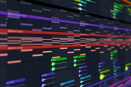 Computer Music DAW Arrangement & MIDI Notes - computer music composing screen photo Stock fotó