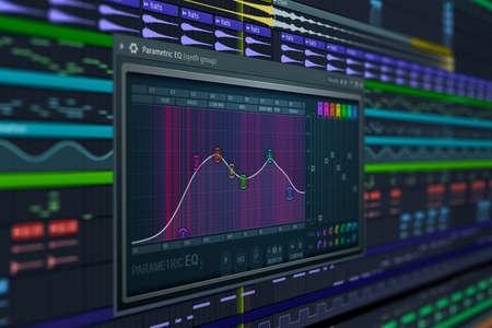 DAW Music Production Equalizer. Audio Samples & Scores. Computer Music - computer music composing screen photo Фото со стока