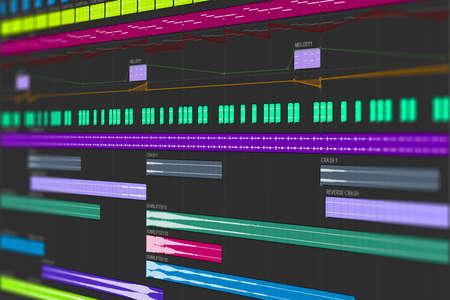 Digital Audio Workstation Interface. MIDI Notes & Samples Arrangement - computer music composing screen photo
