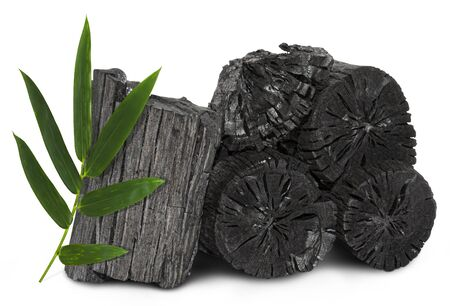 Natural wood charcoal, traditional charcoal or hard wood charcoal isolated on white background,