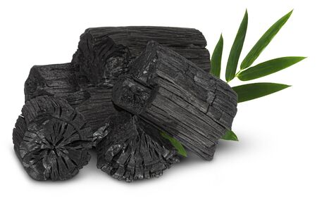 Natural wood charcoal, traditional charcoal or hard wood charcoal isolated on white background, 스톡 콘텐츠