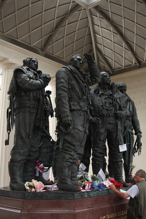 aviators: Bomber Command memorial in Green Park, London, in memory of the 55,573 aircrew from Britain and the Commonwealth killed during the Second World War. The centre of the memorial features a 9 foot bronze sculpture of seven aircrew looking skywards.