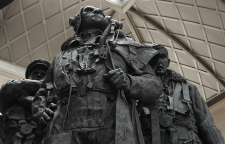 aircrew: Bomber Command memorial in Green Park, London, in memory of the 55,573 aircrew from Britain and the Commonwealth killed during the Second World War. The centre of the memorial features a 9 foot bronze sculpture of seven aircrew looking skywards.
