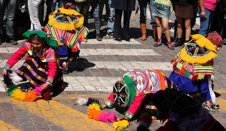 cusco: Dancers during the Inti-Raymi festival in Cusco, Peru. The sun-god Inti was one of the Inca Empire\ Editorial