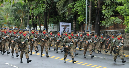 gained: The Salvadorean military takes part in Independence Day parades in Paseo Escalon, San Salvador. El Salvador, along with modern day Guatemala, Honduras, Nicaragua and Costa Rica, gained independence from Spain on 15 September 1821.