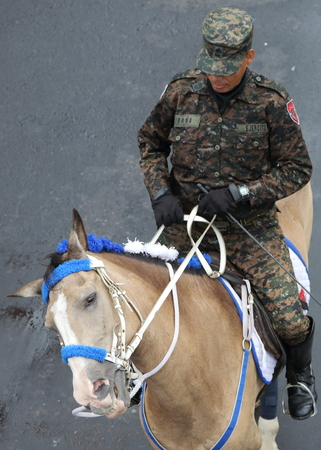 gained: House mounted soldiers from the Salvadorean military take part in Independence Day parades in Paseo Escalon, San Salvador. El Salvador, with modern day Guatemala, Honduras, Nicaragua and Costa Rica, gained independence from Spain on 15 September 1821.
