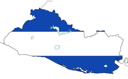 mapa de el salvador: Mapa El Salvador con lagos y las fronteras de los pa�ses vecinos. Bandera nacional llano y sin escudo de armas. Aislado en el fondo blanco.