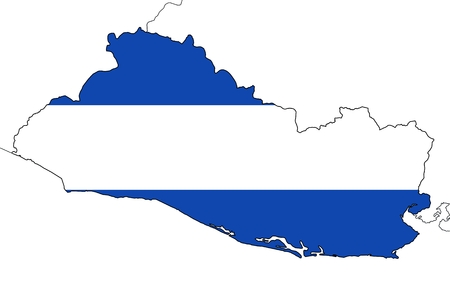 neighbouring: El Salvador map with borders of neighbouring countries. Plain national flag without coat of arms. Isolated on white background.