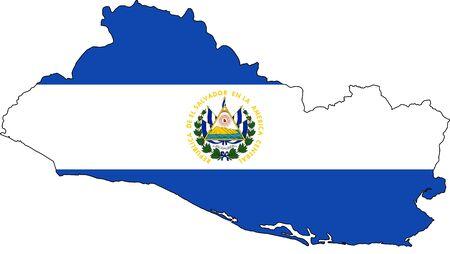 mapa de el salvador: Mapa El Salvador con la bandera nacional y el escudo de armas. Aislado en el fondo blanco. Foto de archivo