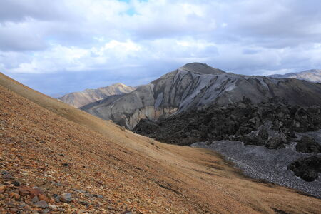 volcanic landscape: The volcanic landscape of Landmannalaugar, at the start of the Laugavegur long distance hiking trail in Iceland. Stock Photo