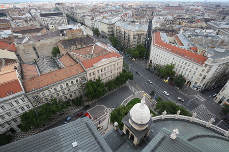 long range: A long range view over the roofs of Budapest, Hungary, taken from the top of St Stephens Basilica.