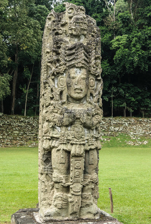 mesoamerica: Carved stone stella of the king in Copan, a Mayan archaeological site in Honduras and a UNESCO World Heritage Site. Copan was the capital of a large area from 400 AD to 800 AD and is famous for its carved stone stella.