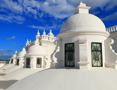 White domes on the roof of Leon Cathedral, Nicaragua. Stock Photo