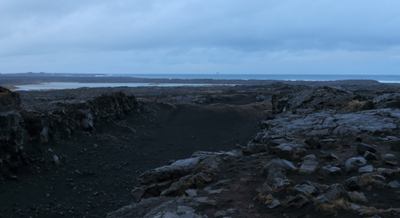 north american: The point where the Eurasian and North American continental plates meet, running up the Atlantic Ocean and straight through Iceland. Stock Photo