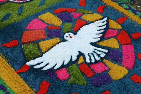 semana santa: Colourful carpets made in the streets in celebration of holy week (Semana Santa). Suchitoto, El Salvador.