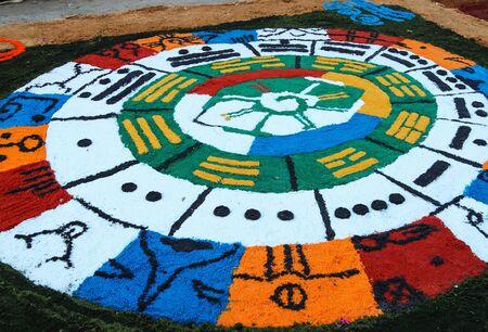 semana: Colourful carpets made in the streets in celebration of holy week (Semana Santa). Suchitoto, El Salvador.