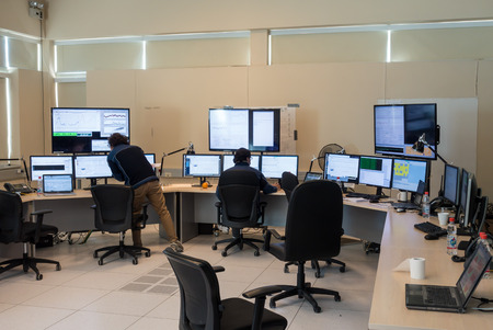 control centre: The ALMA control centre at the Operations Support Facility OSF. From these desks astronomers monitor and control the entire 66 telescope array. ALMA telescopes operate day and night. Atacama Large Millimetersubmillimeter Array. Editorial